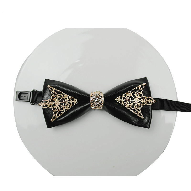 Fashion Diamond Leather Elegant Gentleman Bow Ties Butterfly Wedding Party Bow Ties Butterfly Gravata Original Design Bow Tie