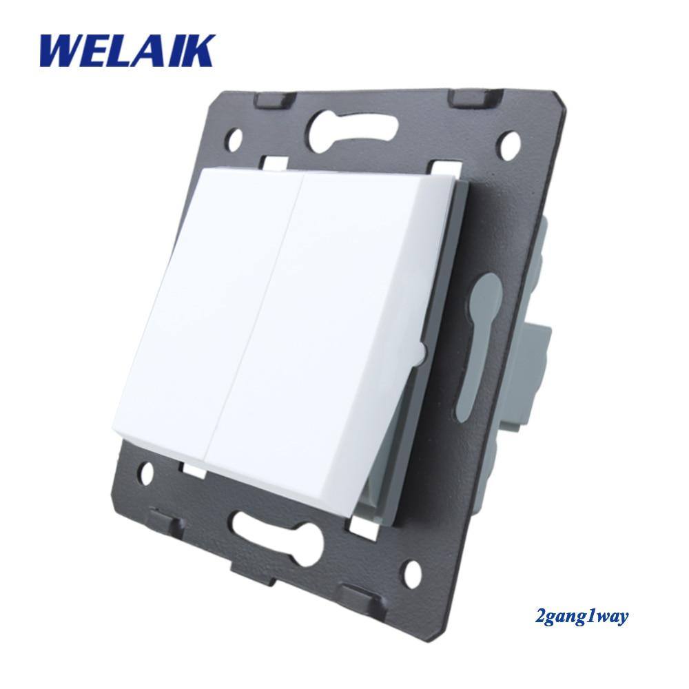 WELAIK EU Wall-Switch-DIY Parts-Push-Button 2Gang-1Way-Switch DIY-Parts Wall-Light Switch-Crystal-Glass-Panel AC110-250V A721W/B