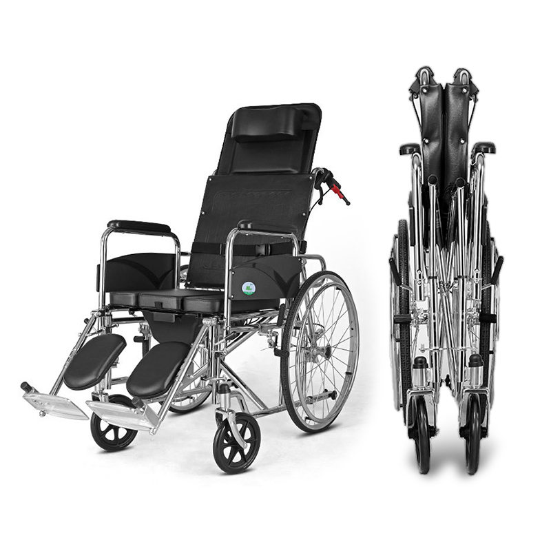 Portable Cofoe Yishu Wheelchair Full Back Rest with Pedestal Pan Folding back PU Leather Galvanized steel Scooter for Old People portable cofoe yishu wheelchair full back rest folding galvanized steel scooter with pedestal pan for the aged 2018 newest