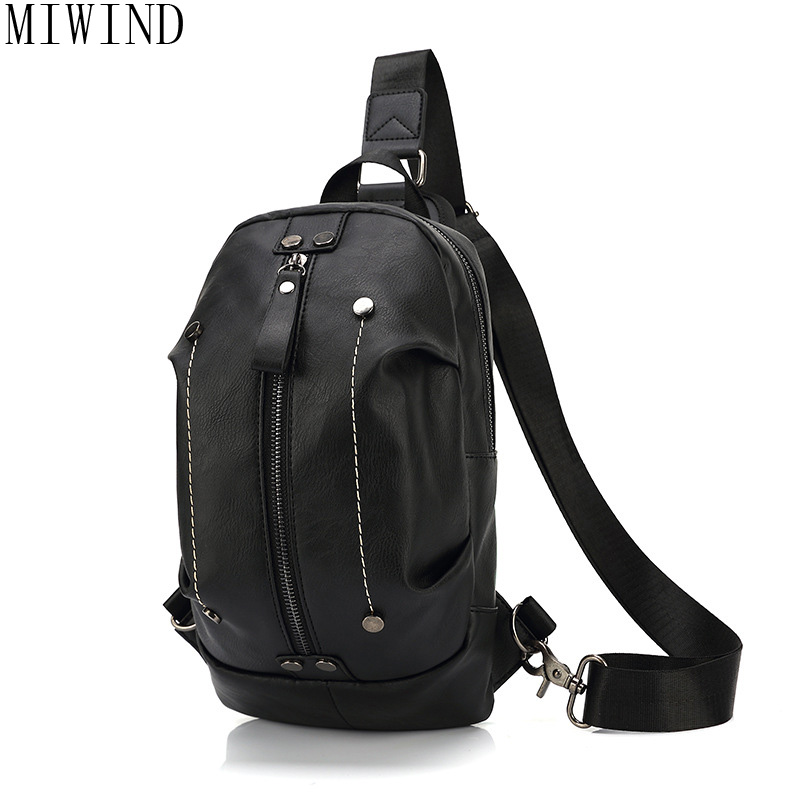 MIWIND Men Travel Chest Pack Leather Men Crossbody Bags men casual messenger bag Small Brand Designer Male Shoulder Bag TZT909 2017 new men canvas chest bag pack casual crossbody sling messenger bags vintage male travel shoulder bag bolsas tranvel borse