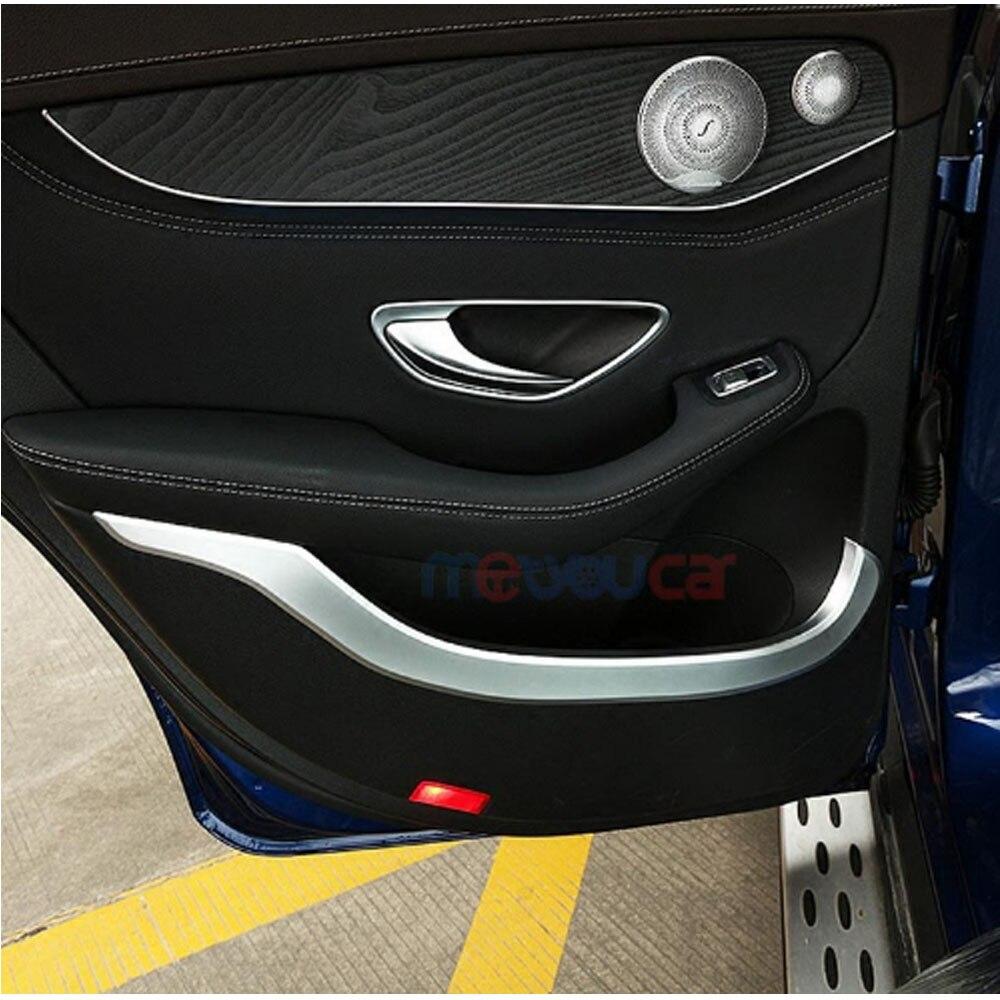Chrome décoration de porte intérieure de voiture garniture de moulage pour Mercedes Benz GLC classe X253 220 260 300 2015-2017 accessoires style de voiture