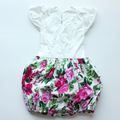 2016 Newest wholesale cheap baby romper dress with big beautiful flower summer dress  for 0-2T baby girl