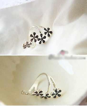4 pequena flor de ameixa 5 folhas vintage estilo étnico antigo coppery prata anéis para mulher