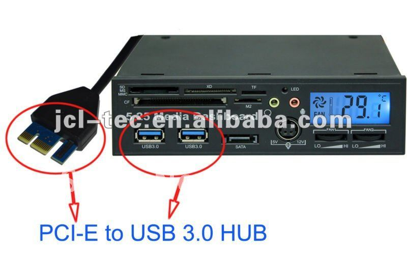 Pci express pci e usb 3 0 hub with internal usb2 0 all in one card reader sata lcd 2 fans - Carte pci express 3 0 sur port 2 0 ...