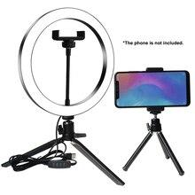 Кольцевой светильник для студийной камеры, светодиодный светильник для селфи, лампа для фото и видеосъемки с штативами, кольцевой Настольный светильник для селфи для Canon