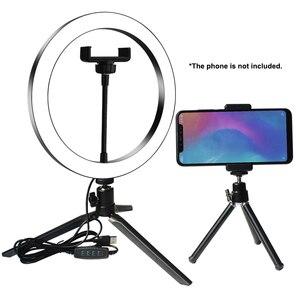 Image 1 - Кольцевой светильник для студийной камеры, светодиодный светильник для селфи, лампа для фото и видеосъемки с штативами, кольцевой Настольный светильник для селфи для Canon
