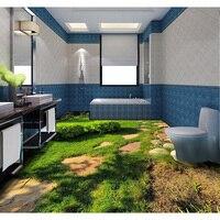 Bathroom Custom 3D Green Lawn Floor Sticker Mural Wallpaper Wear Non slip Waterproof Thickened PVC Wall Paper #171