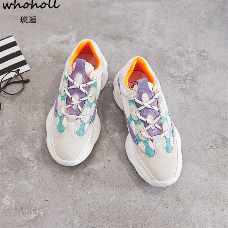 WHOHOLL 2018 Trainers Sneakers Women Casual Shoes Air Mesh Grils Wedges Platform Shoes W ...