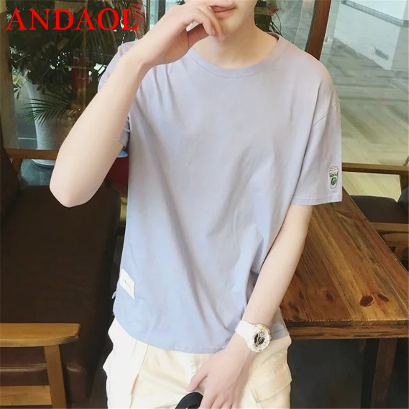 ANDAOL Mens Casual T-Shirts Top Quality Creative Print O-Neck Cotton Loose T Shirt Fashion Simple Short Sportswear Tee shirt