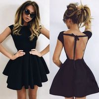 Hot Sale Black Satin Scoop A Line Homecoming Dresses 2018 Graduation Dresses Sexy Open Back Cap Sleeves For 8th Girls Gown XQ 40