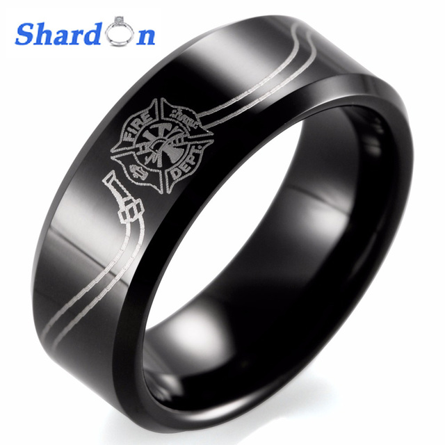 Shardon 8mm Black Beveled Tungsten Carbide Comfort Fit White Lasering Fireman Hose Design Firefighter Rings For
