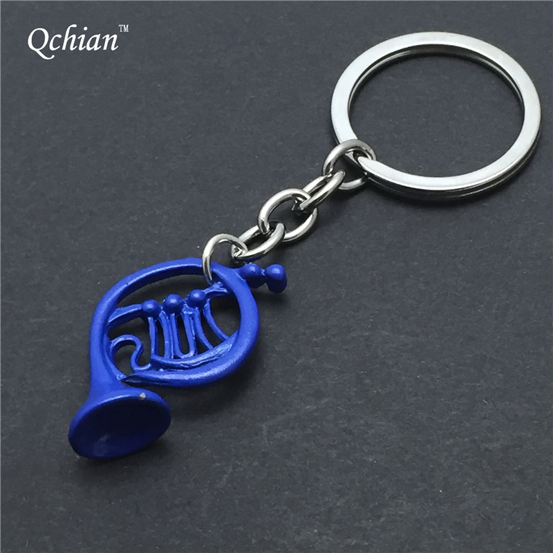 1pcs New How I met your Mother Blue French Horn keychain Pendant with Silver