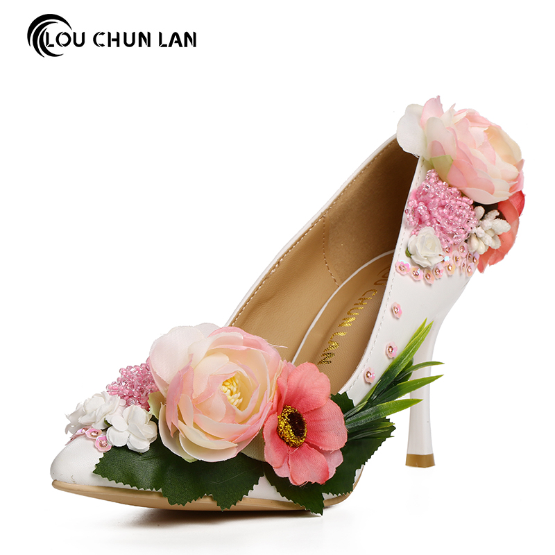Women Pumps party Shoes Aesthetic Flower paillette Bridal Shoes pointed toe High Heels ultra thin formal dress Wedding Shoes red цены онлайн