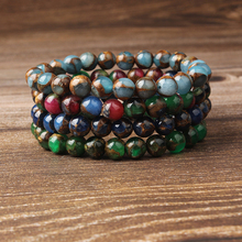 Lingxiang Natural multicolor bead bracelet with manual elastic string is suitable for men and women to wear