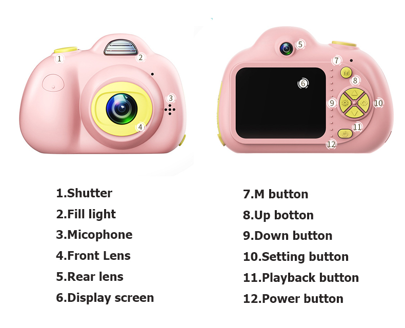 Enfant en bas âge jouets 8MP hd caméra éducative mini caméra photo numérique bébé couleur Mini LSR caméscope enregistreur vidéo Support TF - 5