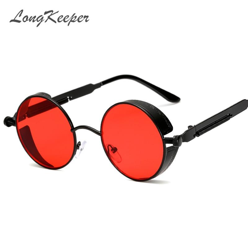 Longkeeper marca Nuevo 2018 Steampunk Gafas de Sol para hombres espejo lente ronda Sol Gafas UV400 gafas vintage retro unisex eyewears