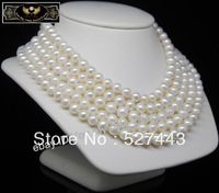 Wholesale free shipping >> MP Fine 8 9mm AAA white pearl necklaces 80Long