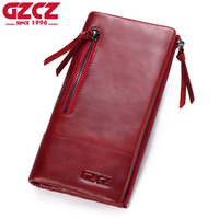 GZCZ Genuine Leather Wallet Female Coin Purse Women Wallets Double Zipper Clamp For Money Clutch Long Walet Woman Portomonee