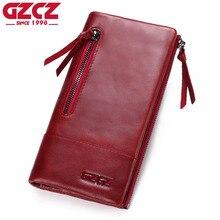 GZCZ 정품 가죽 지갑 여성용 동전 지갑 여성용 지갑 머니 클러치 롱 Walet 여성용 더블 지퍼 클램프 Portomonee