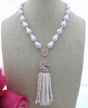 N030413 Natural 18MM White Keshi Pearl&Rhinestone Pendant Necklace