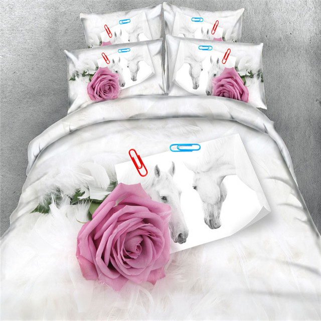 pink rose white horse bedding sets 3d print bedspread 34pc bedclothes duvet cover king - Horse Bedding