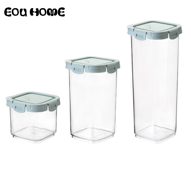 Wheat Straw Storage Box Whole Grains Sealed Cans Covered Dry Cargo Container Tank Convenient Food Storage Transparent Crisper