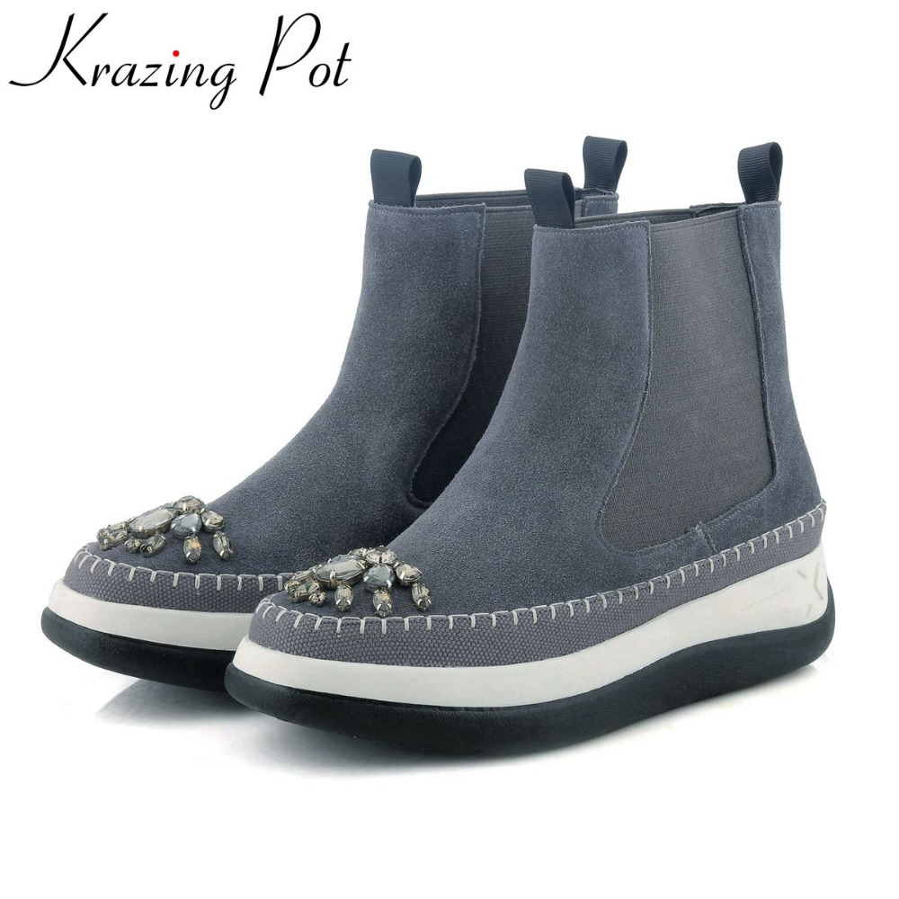 Krazing Pot 2018 handmade genuine leather flat with runway crystal round toe winter boots keep warm slip on ankle boots L0f8 farvarwo formal retro buckle chelsea boots mens genuine leather flat round toe ankle slip on boot black kanye west winter shoes