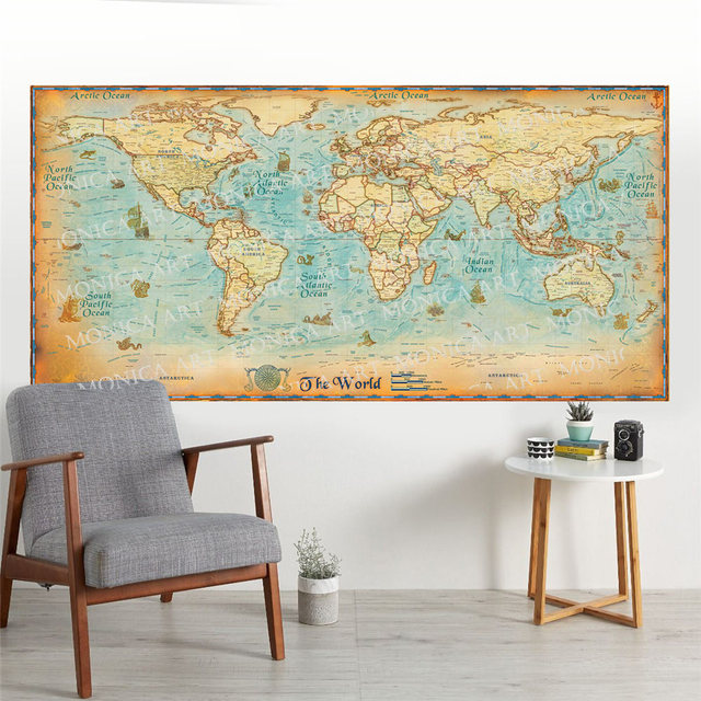 Canvas Vintage World Map Retro Large Ocean Map High Quality Hd Made