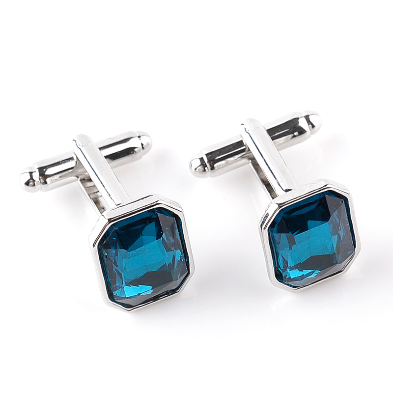 Fashion Luxury Men's Blue Crystal Business Cufflinks Classic Wedding Charm Jewelry Trendy French Shirts Casual Cuff Links Button