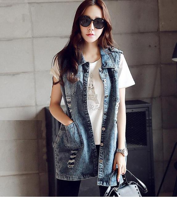 Casual Denim Vest Women Waistcoat Plus Size 2017 summer Vintage Frayed Chaleco Colete Jeans Feminino Gilet Femme Chalecos Mujer
