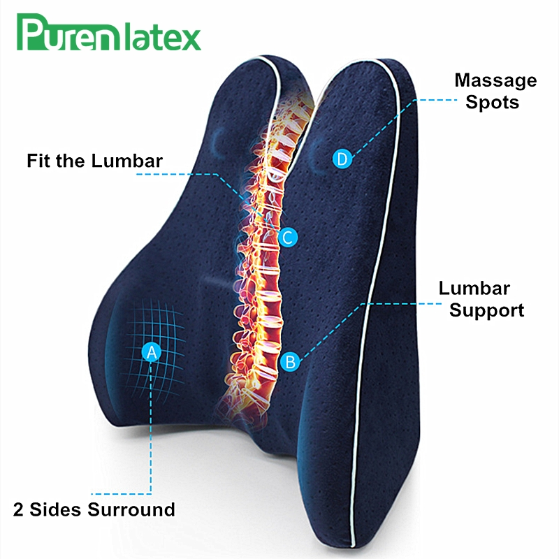 PurenLatex mémoire mousse taille lombaire soutien latéral oreiller colonne vertébrale Coccyx protéger orthopédique siège de voiture bureau canapé chaise dos coussin