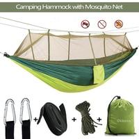 Draagbare Outdoor Camping Hangmat 1 2 Persoon Met Klamboe Hoge Sterkte Parachute Stof Opknoping Bed Jacht Slapen Swing-in Hangmatten van Meubilair op