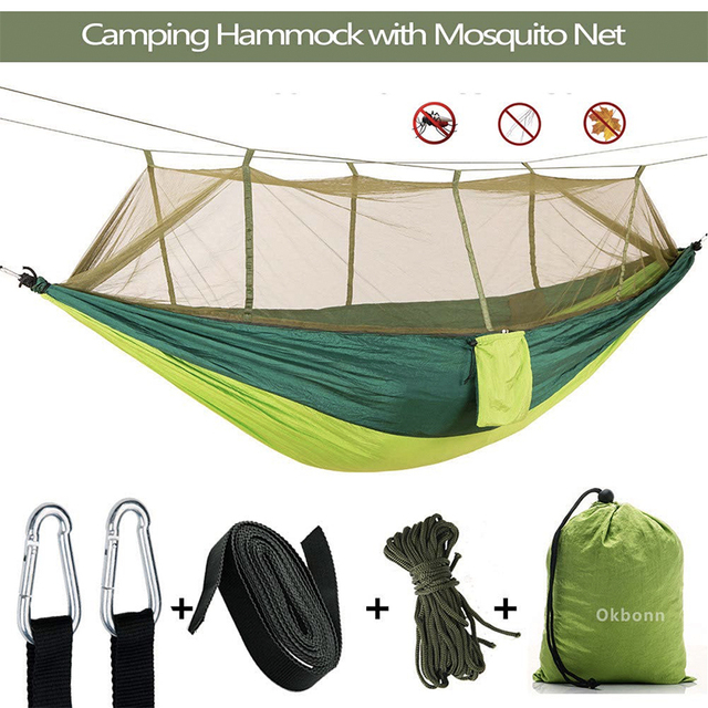 $ US $17.69 Portable Outdoor Camping Hammock 1-2 Person With Mosquito Net High Strength Parachute Fabric Hanging Bed Hunting Sleeping Swing