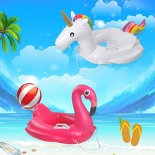 Childs Float Swim Ring Inflatable Unicorn Flamingo Baby Pool floats with Safe Handles Circle Swimming Toys lifebuoy