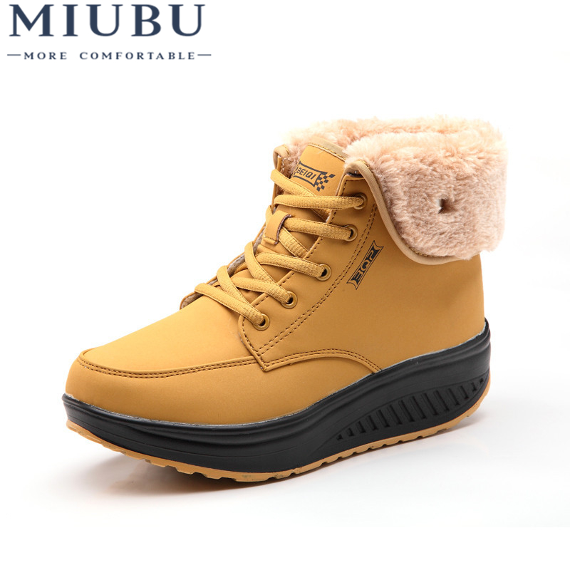 MIUBU Warm Fur Lined Women Snow Ankle Boots Winter Female Short Plush Wedge Boots Solid Casual Height Increasing Shoes