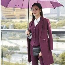 Высокое качество ткани осень зима женские блейзеры костюмы униформа дизайн бизнес дамские офисные костюмы с длинной ветровкой