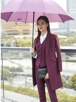 High Quality Fabric 2018 Fall Winter Women Blazers Suits Uniform Designs Business Ladies Office Suits With Long Windbreaker