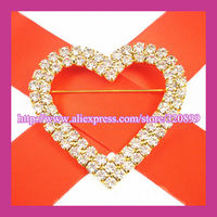 100pcs/lot 45*54mm Gold Plated Heart Two rows Crystal Chair Sash Buckles,Wedding Rhinestone Buckles With Horizontal Pin