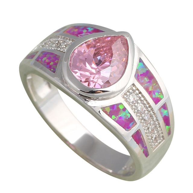 Wedding Ring for women Pink Zircon Inlay Pink Fire Opal Silver