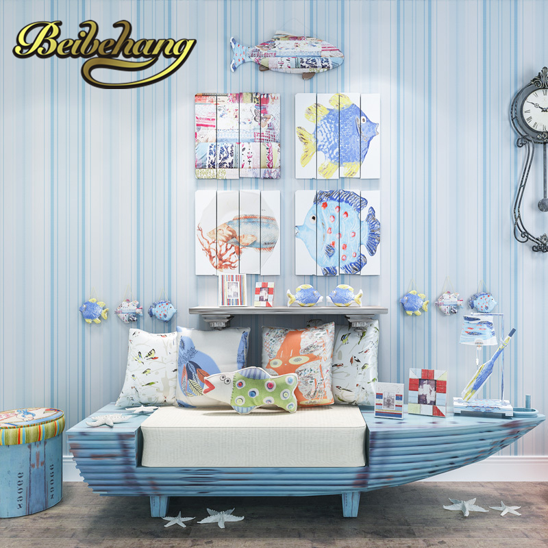 beibehang The Mediterranean-style striped non-woven 3D background wallpaper bedroom child RO papel de parede sala wall paper beibehang mediterranean blue striped 3d wallpaper non woven bedroom pink living room background wall papel de parede wall paper