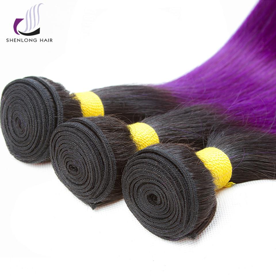 SHENLONG HAIR Peruvian Straight Hair 100g / Stycke 1B-Lila - Mänskligt hår (svart) - Foto 5