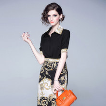 2019 2 Piece Set Women Summer New Short-sleeved Shirt Bag Hip Skirt Fashion Temperament Two-piece Outfits