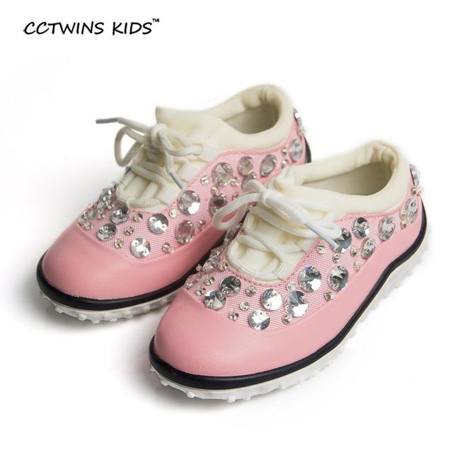 CCTWINS CRIANÇAS primavera outono bebê menina rosa strass moda marca calçados casuais da sapatilha de corrida para o menino crianças pu de couro treinador F1172