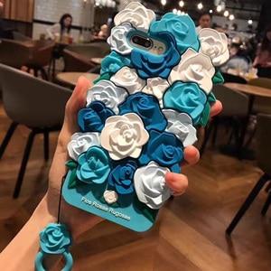 Image 4 - Gümrükleme iPhone kılıfları X 8 7 6 6 s Artı Durumda Güzel 3D Gül Çiçek Arka Kapak Coque Kabuk iPhone 7 Kayış ile