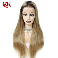 QueenKing Hair Brazilian Remy Ombre Blonde Wig 150% Density Natural 27 Full Lace wig Remy Hair Free Shipping ,Wigs for women