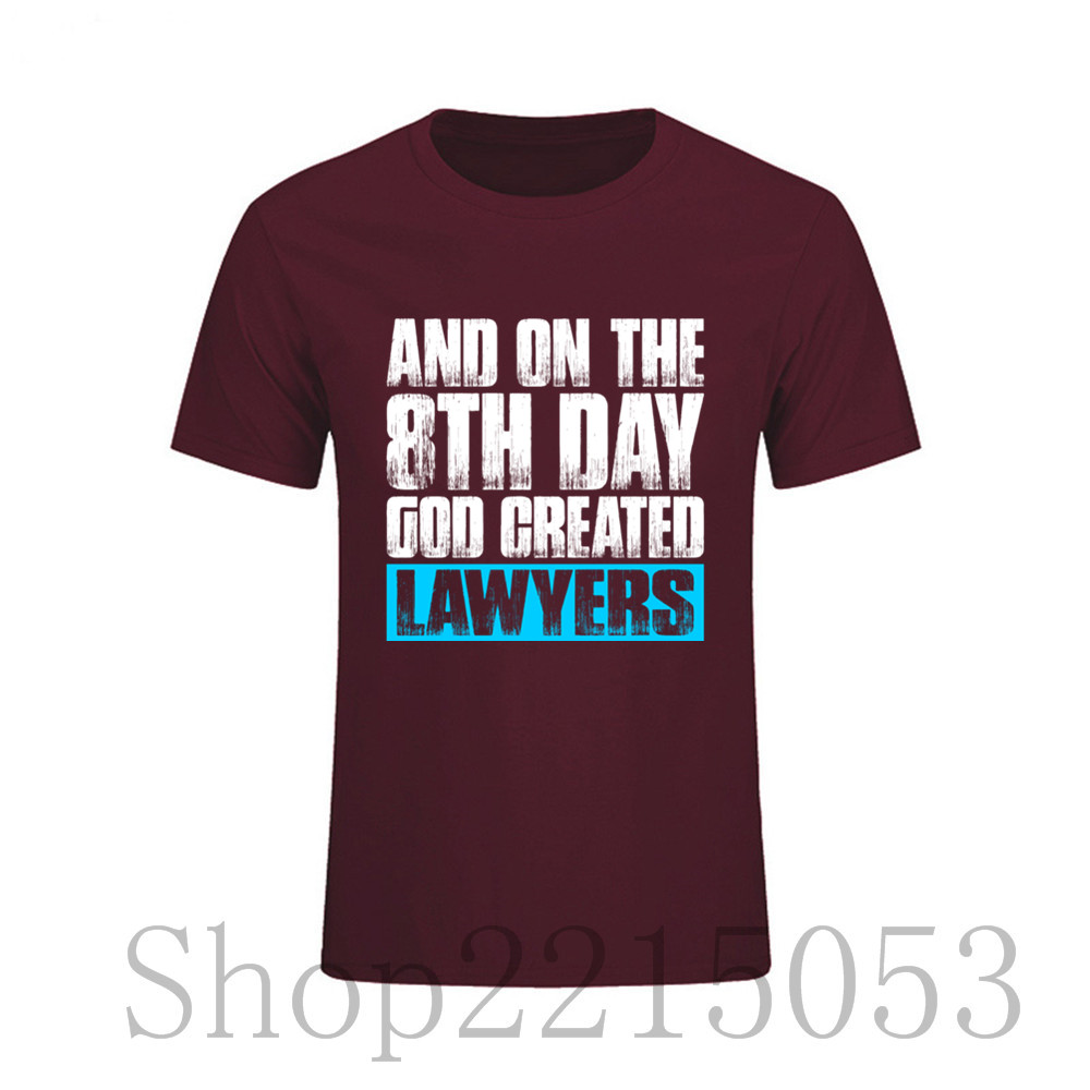 Adult Round Neck And On The 8th Day God Created Lawyers male tshirts Cool Short Sleeve T Shirt Men's Movie T-Shirt rick y morty image