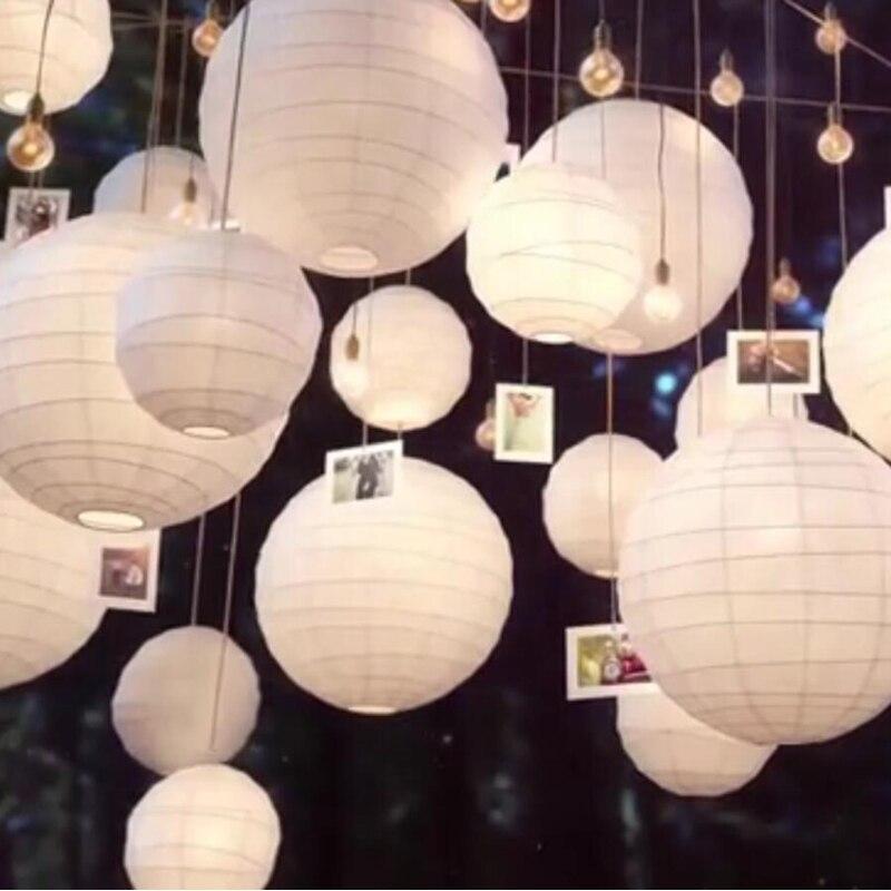 20 Teile/los Gemischt Größe (20 Cm, 30 Cm, 35 Cm, 40 Cm) Weiß Papier  Laternen Chinesische Papier Ball Lampions Für Hochzeit Party Dekoration Neue