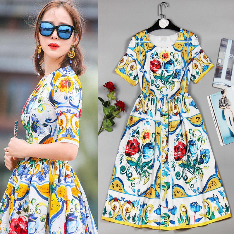 S-3XL High Quality 2019 Summer New With The Same Paragraph Exquisite Fashion Printing Short-sleeved Round Neck Slim Thin Dre