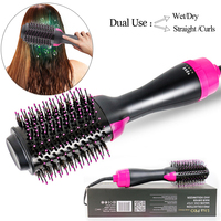 Drop Ship Electric Heating Hair Straightener Curler Pro Salon One Step Dry/Wet Two Using Hair Dryer Comb EU/US/UK /AU Plug