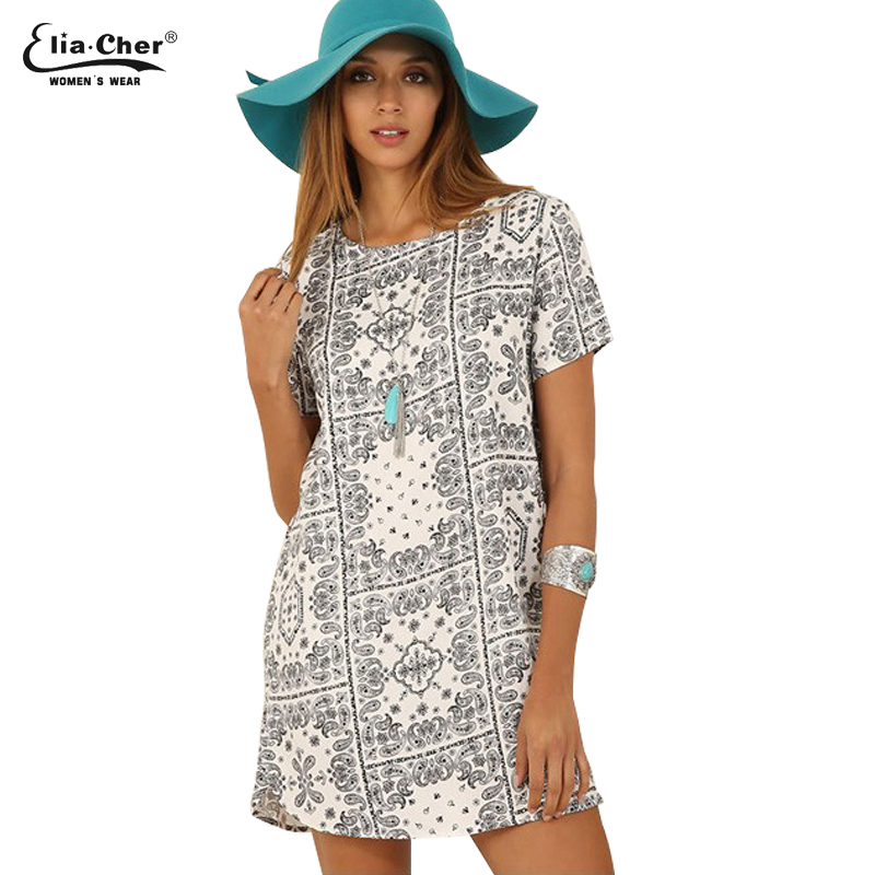 Women Dress Summer Print Dresses Eliacher Brand Plus Size Women Clothing Chic Evening Party T-shirt Dress vestidos